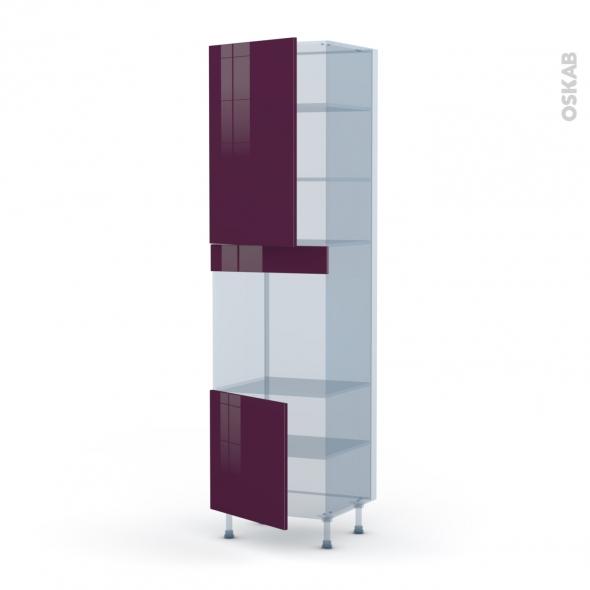 KERIA Aubergine - Kit Rénovation 18 - Colonne Four N°1624 - 2 portes - L60xH217xP60