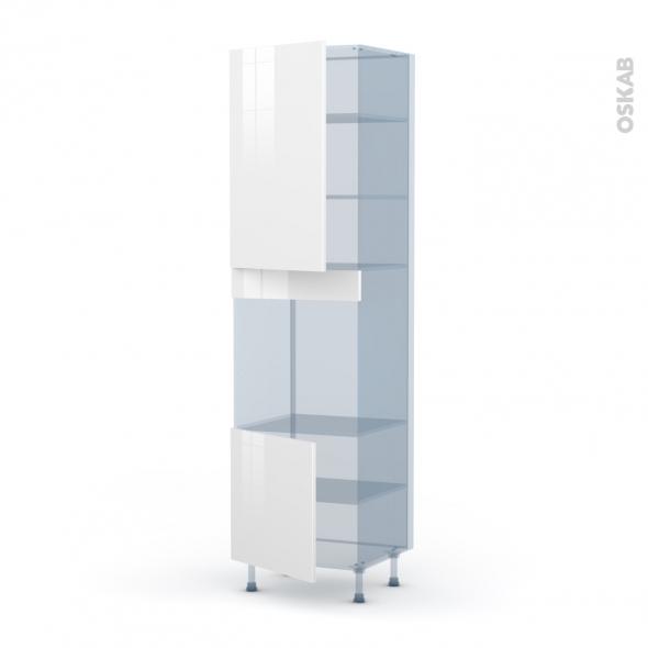 STECIA Blanc - Kit Rénovation 18 - Colonne Four N°1624 - 2 portes - L60xH217xP60