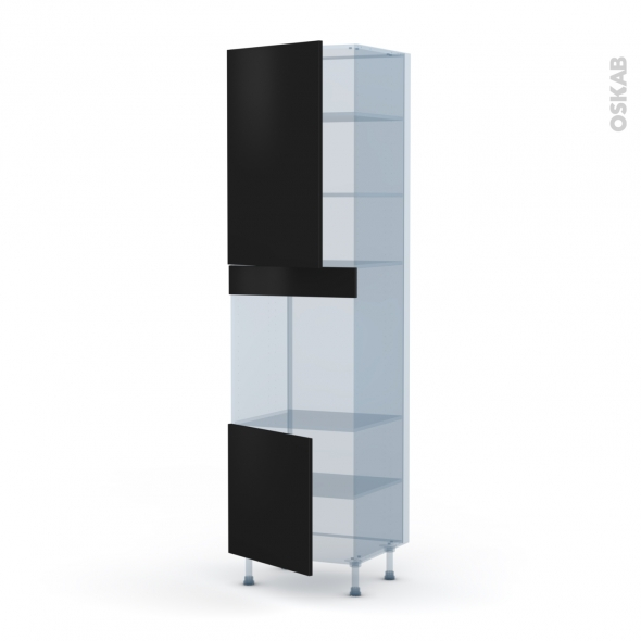GINKO Noir - Kit Rénovation 18 - Colonne Four N°1624 - 2 portes - L60xH217xP60