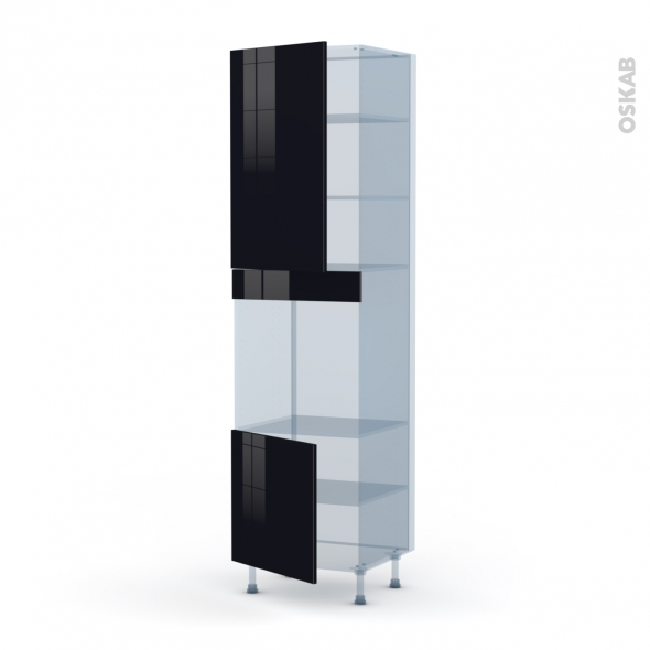 KERIA Noir - Kit Rénovation 18 - Colonne Four N°1624 - 2 portes - L60xH217xP60