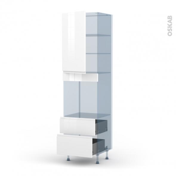 IPOMA Blanc - Kit Rénovation 18 - Colonne Four N°2458  - 1 porte 2 casseroliers - L60xH217xP60