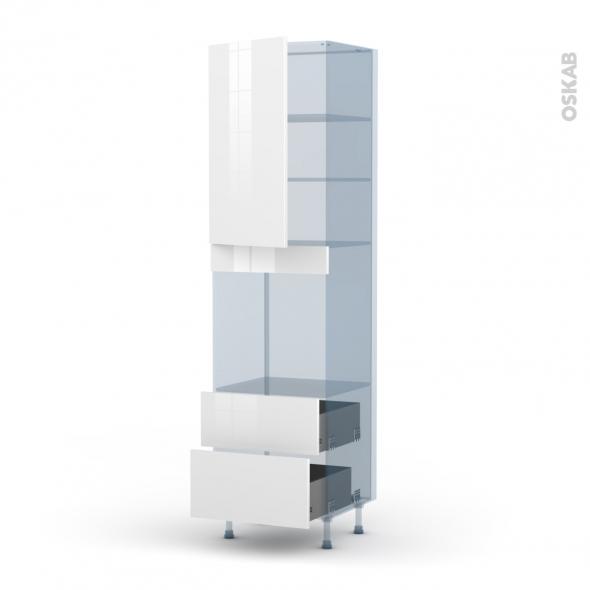 STECIA Blanc - Kit Rénovation 18 - Colonne Four N°2458  - 1 porte 2 casseroliers - L60xH217xP60
