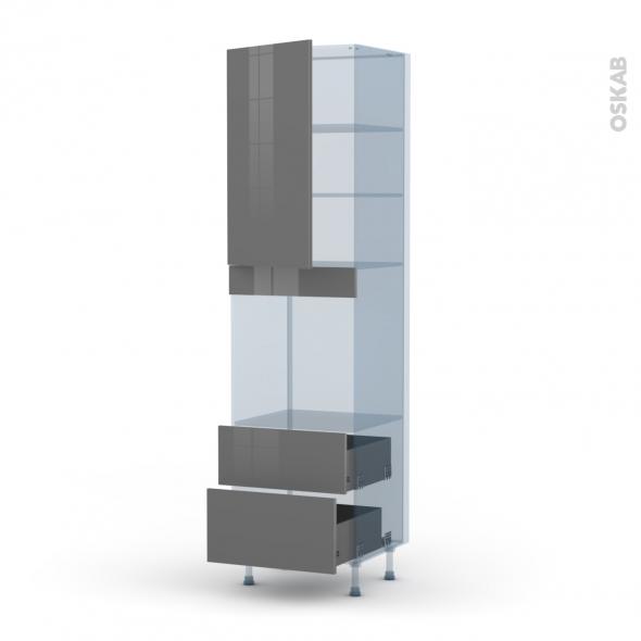 STECIA Gris - Kit Rénovation 18 - Colonne Four N°2458  - 1 porte 2 casseroliers - L60xH217xP60