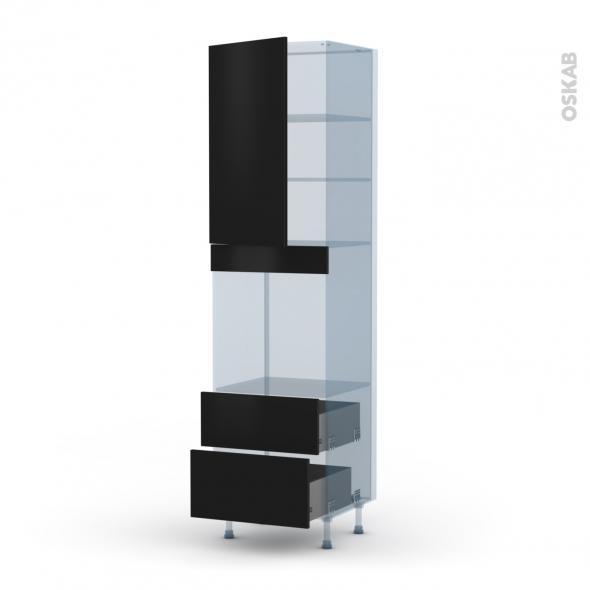 GINKO Noir - Kit Rénovation 18 - Colonne Four N°2458  - 1 porte 2 casseroliers - L60xH217xP60