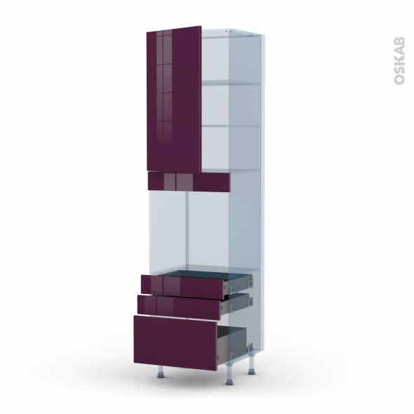 KERIA Aubergine - Kit Rénovation 18 - Colonne Four N°2459  - 1 porte 3 tiroirs - L60xH217xP60
