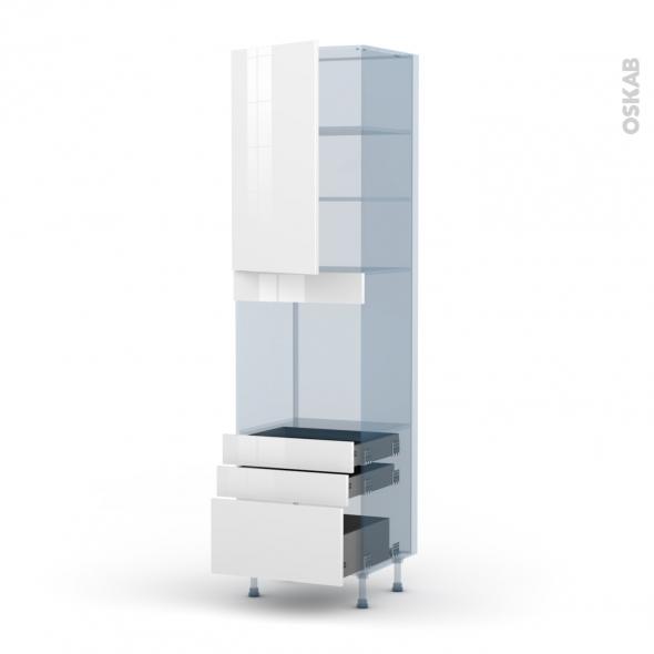 STECIA Blanc - Kit Rénovation 18 - Colonne Four N°2459  - 1 porte 3 tiroirs - L60xH217xP60