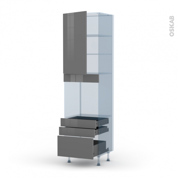 STECIA Gris - Kit Rénovation 18 - Colonne Four N°2459  - 1 porte 3 tiroirs - L60xH217xP60