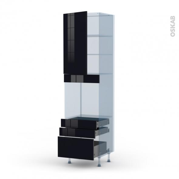 KERIA Noir - Kit Rénovation 18 - Colonne Four N°2459  - 1 porte 3 tiroirs - L60xH217xP60