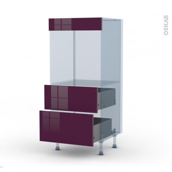 KERIA Aubergine - Kit Rénovation 18 - Colonne Four N°58  - 2 casseroliers - L60xH125xP60