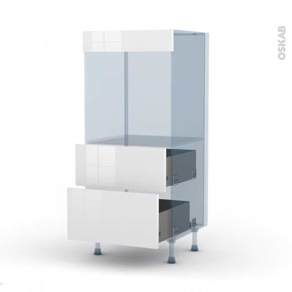 STECIA Blanc - Kit Rénovation 18 - Colonne Four N°58  - 2 casseroliers - L60xH125xP60