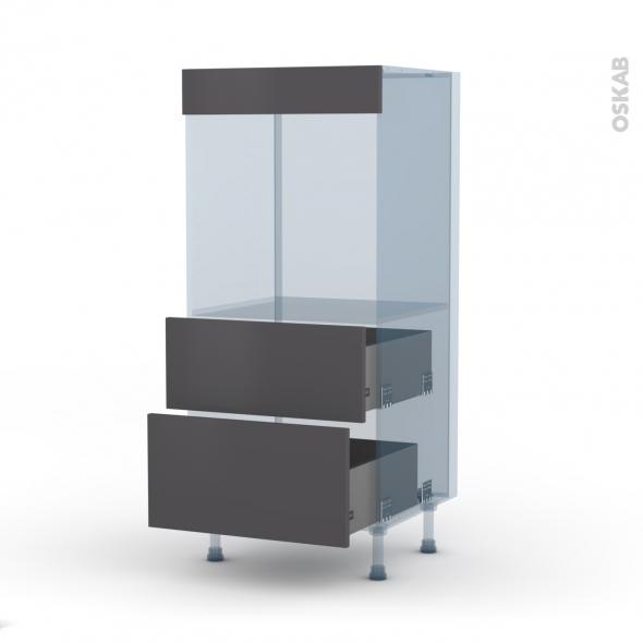 GINKO Gris - Kit Rénovation 18 - Colonne Four N°58  - 2 casseroliers - L60xH125xP60