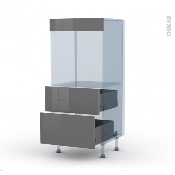 STECIA Gris - Kit Rénovation 18 - Colonne Four N°58  - 2 casseroliers - L60xH125xP60