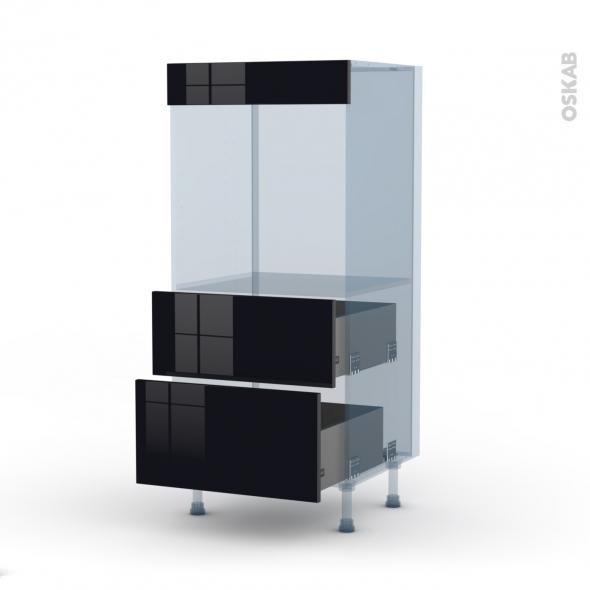 KERIA Noir - Kit Rénovation 18 - Colonne Four N°58  - 2 casseroliers - L60xH125xP60