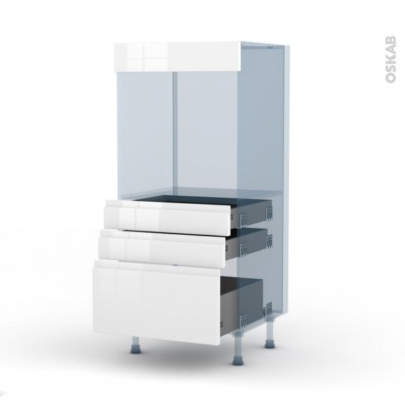 IPOMA Blanc - Kit Rénovation 18 - Colonne Four N°59  - 3 tiroirs - L60xH125xP60