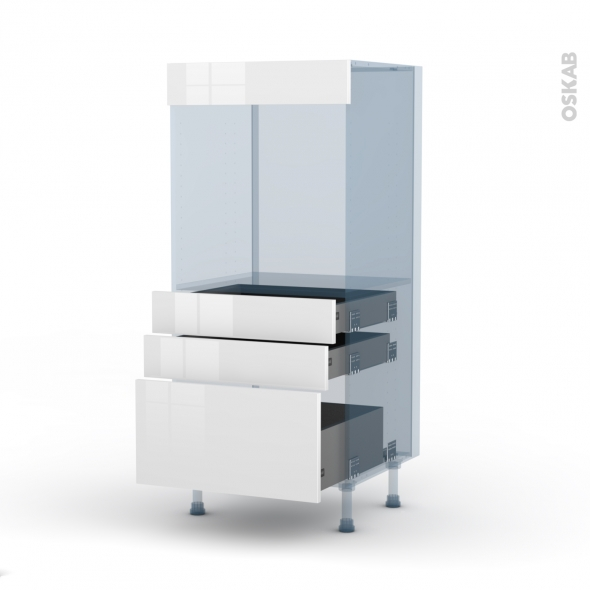 STECIA Blanc - Kit Rénovation 18 - Colonne Four N°59  - 3 tiroirs - L60xH125xP60