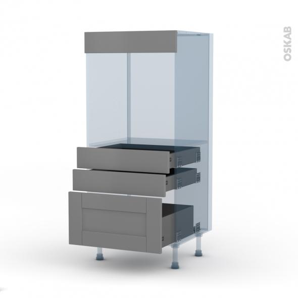 FILIPEN Gris - Kit Rénovation 18 - Colonne Four N°59  - 3 tiroirs - L60xH125xP60