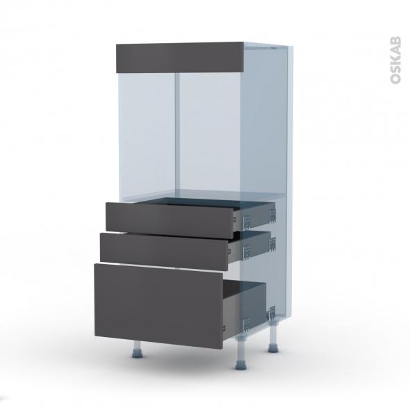 GINKO Gris - Kit Rénovation 18 - Colonne Four N°59  - 3 tiroirs - L60xH125xP60