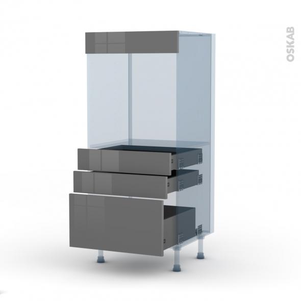STECIA Gris - Kit Rénovation 18 - Colonne Four N°59  - 3 tiroirs - L60xH125xP60