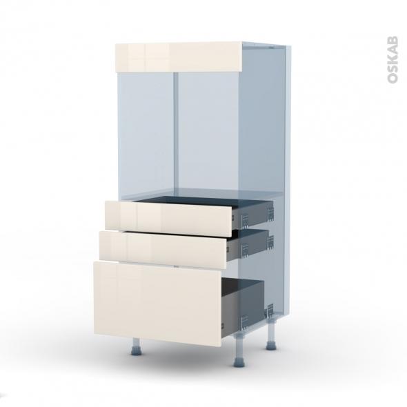 KERIA Ivoire - Kit Rénovation 18 - Colonne Four N°59  - 3 tiroirs - L60xH125xP60
