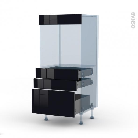 KERIA Noir - Kit Rénovation 18 - Colonne Four N°59  - 3 tiroirs - L60xH125xP60