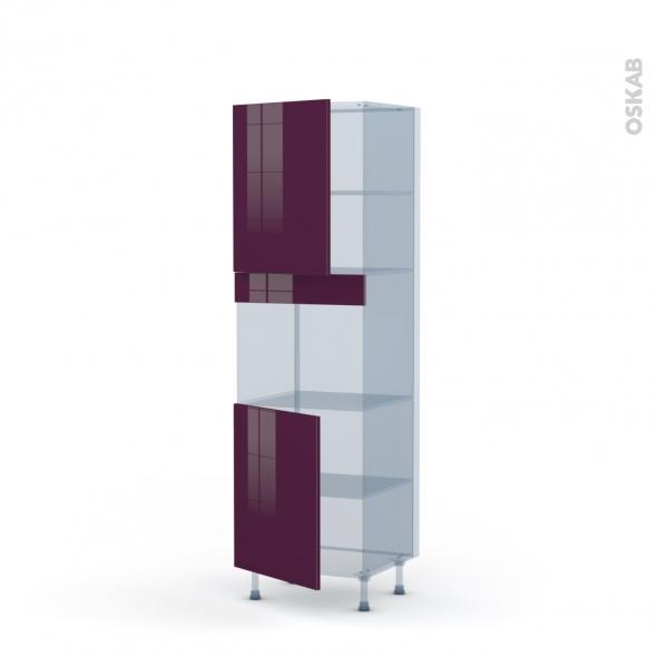 KERIA Aubergine - Kit Rénovation 18 - Colonne Four niche 45 N°2121  - 2 portes - L60xH195xP60