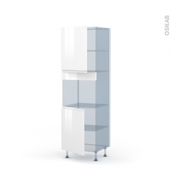 IPOMA Blanc brillant - Kit Rénovation 18 - Colonne Four niche 45 N°2121  - 2 portes - L60xH195xP60