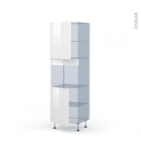 STECIA Blanc - Kit Rénovation 18 - Colonne Four niche 45 N°2121  - 2 portes - L60xH195xP60