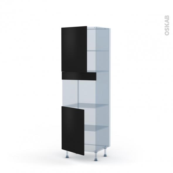 GINKO Noir - Kit Rénovation 18 - Colonne Four niche 45 N°2121  - 2 portes - L60xH195xP60
