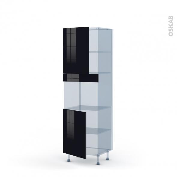 KERIA Noir - Kit Rénovation 18 - Colonne Four niche 45 N°2121  - 2 portes - L60xH195xP60