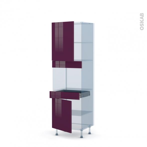 KERIA Aubergine - Kit Rénovation 18 - Colonne Four niche 45 N°2156  - 2 portes 1 tiroir - L60xH195xP60