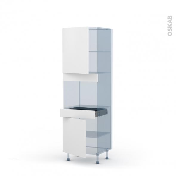 GINKO Blanc - Kit Rénovation 18 - Colonne Four niche 45 N°2156 - 2 portes 1 tiroir - L60xH195xP60