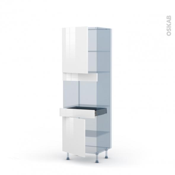 STECIA Blanc - Kit Rénovation 18 - Colonne Four niche 45 N°2156  - 2 portes 1 tiroir - L60xH195xP60