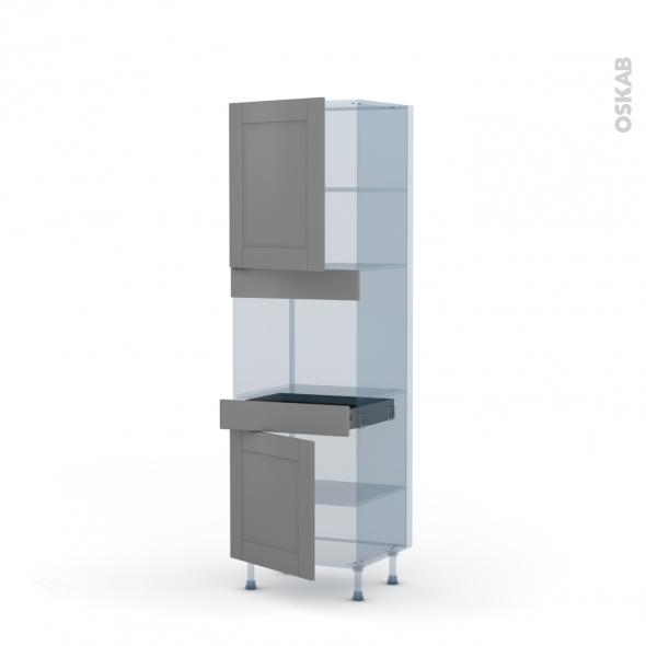 FILIPEN Gris - Kit Rénovation 18 - Colonne Four niche 45 N°2156  - 2 portes 1 tiroir - L60xH195xP60