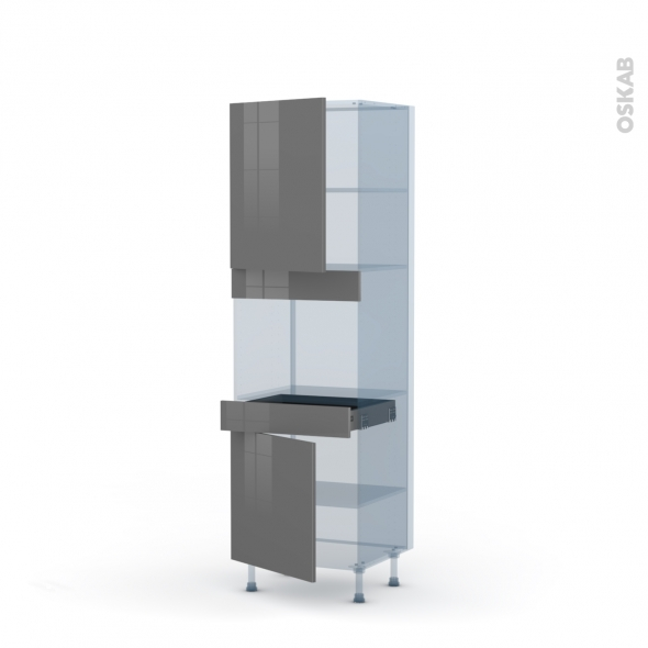 STECIA Gris - Kit Rénovation 18 - Colonne Four niche 45 N°2156  - 2 portes 1 tiroir - L60xH195xP60