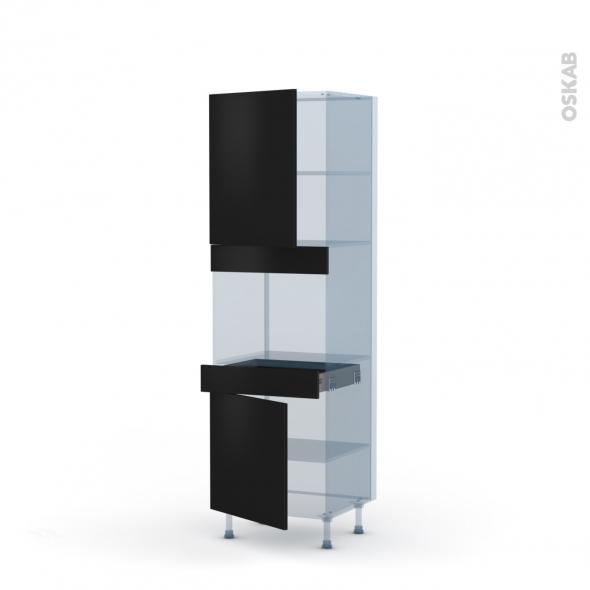 GINKO Noir - Kit Rénovation 18 - Colonne Four niche 45 N°2156  - 2 portes 1 tiroir - L60xH195xP60