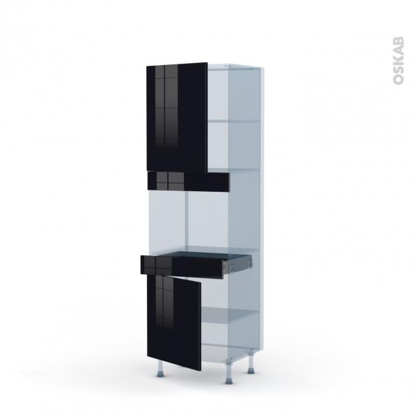 KERIA Noir - Kit Rénovation 18 - Colonne Four niche 45 N°2156  - 2 portes 1 tiroir - L60xH195xP60