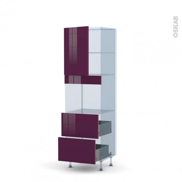 KERIA Aubergine - Kit Rénovation 18 - Colonne Four niche 45 N°2157  - 1 porte 2 casseroliers - L60xH195xP60