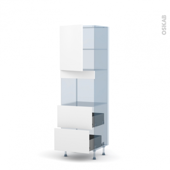 GINKO Blanc - Kit Rénovation 18 - Colonne Four niche 45 N°2157 - 1 porte 2 casseroliers - L60xH195xP60