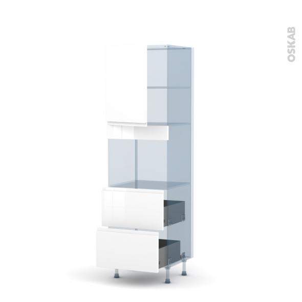 IPOMA Blanc - Kit Rénovation 18 - Colonne Four niche 45 N°2157  - 1 porte 2 casseroliers - L60xH195xP60