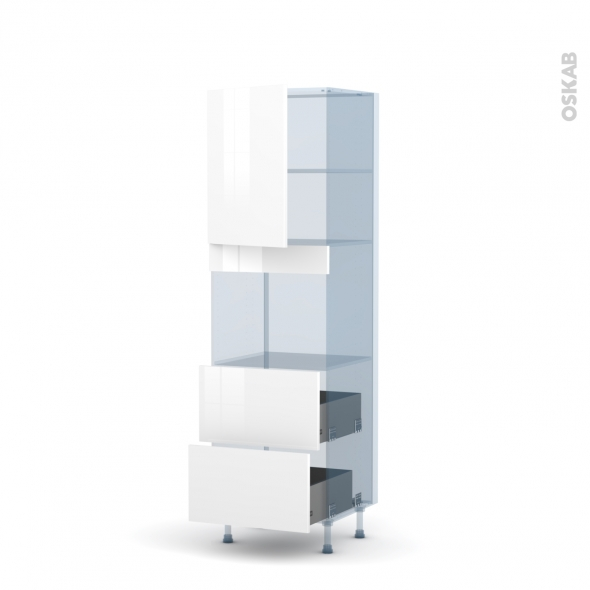STECIA Blanc - Kit Rénovation 18 - Colonne Four niche 45 N°2157  - 1 porte 2 casseroliers - L60xH195xP60