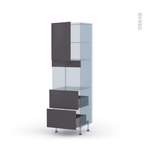 GINKO Gris - Kit Rénovation 18 - Colonne Four niche 45 N°2157  - 1 porte 2 casseroliers - L60xH195xP60