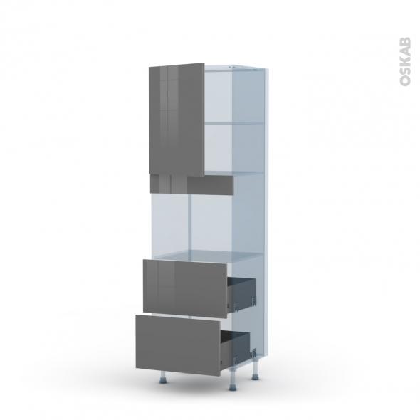 STECIA Gris - Kit Rénovation 18 - Colonne Four niche 45 N°2157  - 1 porte 2 casseroliers - L60xH195xP60