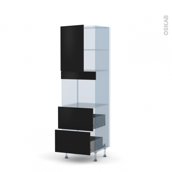 GINKO Noir - Kit Rénovation 18 - Colonne Four niche 45 N°2157  - 1 porte 2 casseroliers - L60xH195xP60