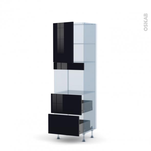 KERIA Noir - Kit Rénovation 18 - Colonne Four niche 45 N°2157  - 1 porte 2 casseroliers - L60xH195xP60