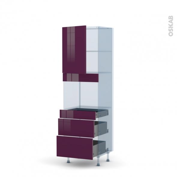 KERIA Aubergine - Kit Rénovation 18 - Colonne Four niche 45 N°2158  - 1 porte 3 tiroirs - L60xH195xP60