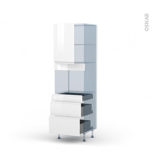 IPOMA Blanc - Kit Rénovation 18 - Colonne Four niche 45 N°2158  - 1 porte 3 tiroirs - L60xH195xP60