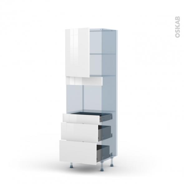 STECIA Blanc - Kit Rénovation 18 - Colonne Four niche 45 N°2158  - 1 porte 3 tiroirs - L60xH195xP60
