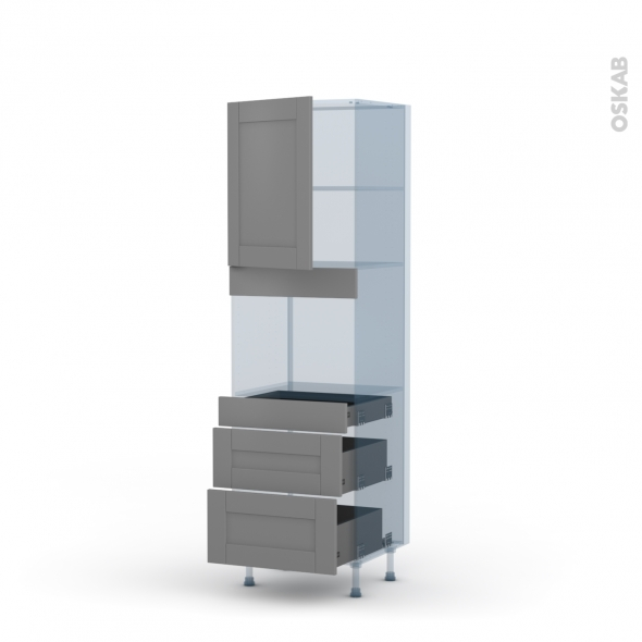 FILIPEN Gris - Kit Rénovation 18 - Colonne Four niche 45 N°2158  - 1 porte 3 tiroirs - L60xH195xP60
