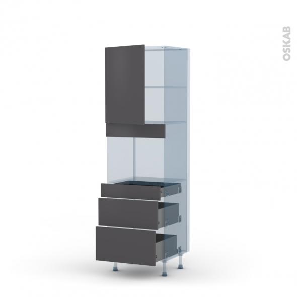 GINKO Gris - Kit Rénovation 18 - Colonne Four niche 45 N°2158  - 1 porte 3 tiroirs - L60xH195xP60