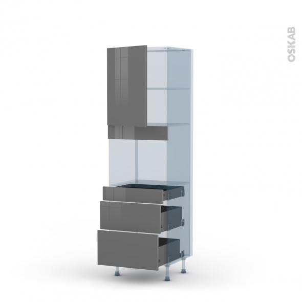 STECIA Gris - Kit Rénovation 18 - Colonne Four niche 45 N°2158  - 1 porte 3 tiroirs - L60xH195xP60
